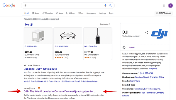 DJI Organic listing Vs. Ads
